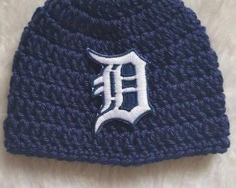 NEWBORN Baseball hat... Detroit Tigers ...!!...Newborn crochet baby baseball hat... Newbo pho pro