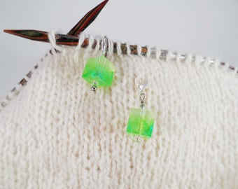 Lime Green Captured Fiber and Resin Stitch Marker and Progress Keeper Set