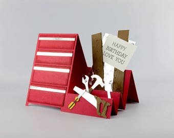 Fait à la main carte d'anniversaire - carte de boîte à outils charpentier - joyeux anniversaire carte - main estampillé - carte fait à la main - carte d'anniversaire pour mari