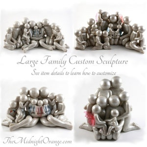 Custom LARGE Family of 8 or more - bespoken family memorial clay sculpture - please read entire description details