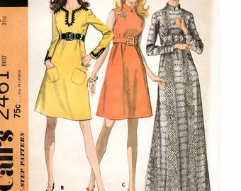 "An Empire Waist Dress with Collar, Sleeve, Length & Trim Variations Sewing Pattern for Women: Uncut - Size 8, Bust 31-1/2"" • McCall's 2461"