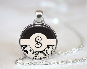 Monogram Initial Magnetic Pendant Necklace with Organza Bag