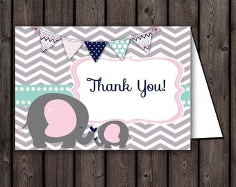 elephant baby shower thank you cards, PRINTED or digital, shipped with envelopes, elephant thank you cards, thank you card, Pink, gray mint