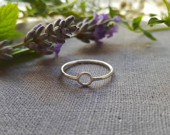 Simple Circle Ring, Silver Ring, Delicate, Thin Medium, Tiny Ring,  Geometric Ring