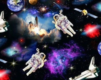 In Space Fabric, Elizabeth's Studio, Fabric, Quilting Cotton, Galaxy, Space - YARD