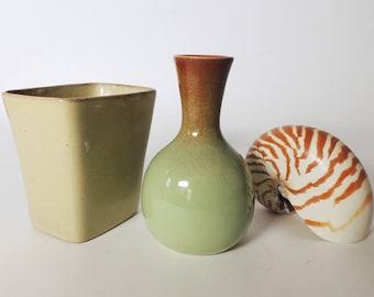 Two Small Mid Century Modern Vases by S. Ballard Studio Art Pottery Vintage 1950's