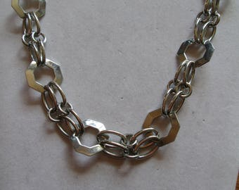 """Chunky 1990's silver disc and chain necklace measures 18"""" long"""
