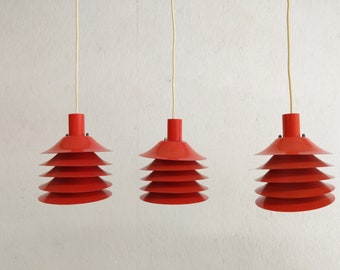 Set of 3 Vintage Danish Modern Hanging Pendant Lamps - 125 each OBO - Free NYC Delivery!