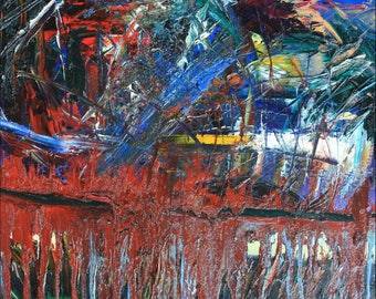 abstract impasto oil painting on canvas  By Jodeen Betton