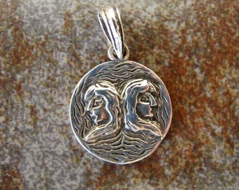 ZODIAC Sterling silver GEMINI charm. Textured charm. 18 x 28 mm. Solid Sterling silver zodiac charm pendant