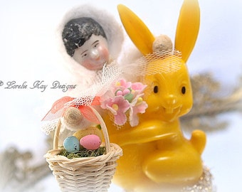 Spun Cotton Doll Easter Decoration Vintage Inspired Girl riding Bunny  Lorelie Kay Orignal