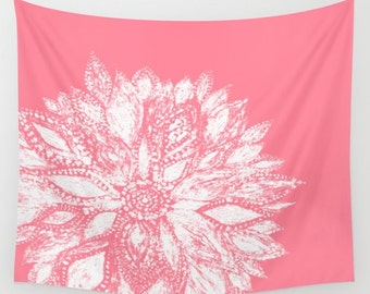Pink Flower Tapestry, flower wall tapestry, floral tapestry, pink wall tapestry, dorm tapestry, dorm room decor, pink white tapestry