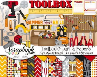 TOOLBOX Clipart and Papers Kit, 37 png Clip Arts, 20 jpeg Papers Instant Download hammer wrench screwdriver tools drill ruler tape measure