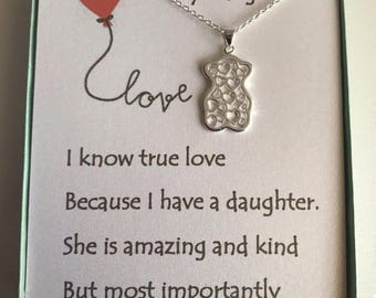 Love heart bear necklace w/ love poem for your daughter