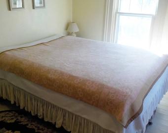 Vintage Cotton Flannel Blanket • Camp Style Blanket • Pink and Tan Soft Cabin Blanket
