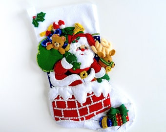 Bucilla Felt Christmas Stocking, Finished, Completed, Personalized, Down the Chimney