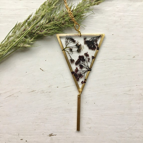Japanese maple flower brass triangle necklace