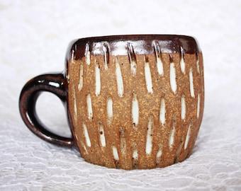 Handmade Ceramic Mug - Carved