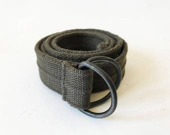 Khaki Green Wide Thick Cotton Belt D Ring Metal Buckle Canvas Army Military Belt Hipster Boho Bohemian Artsy Work Wear Festival Green Belt