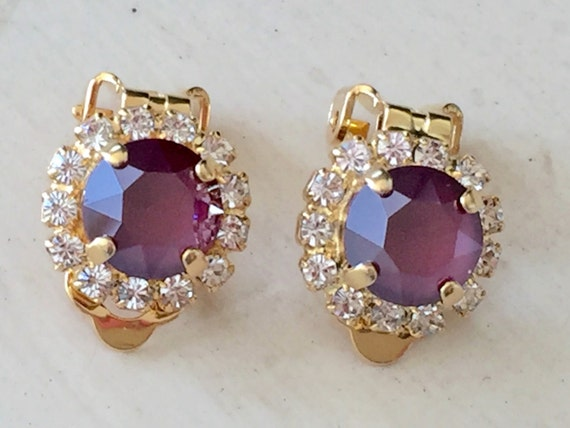 Swarovski Dark Red Lacquer & Clear Crystal Halo Clip On Earrings, Yellow Gold