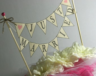 Wedding Cake BANNER Just Married Rustic Wedding Cake Topper