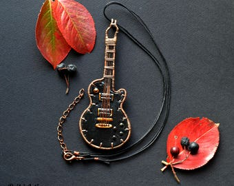 Guitar pendant necklace Polymer clay guitar Electric guitar Guitar necklace Guitar jewelry Guitar pendant Guitar lovers Gift for musicians