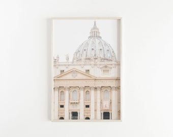 st. peter's basilica, rome photography, beige italy print, travel decor, minimalist wall decor, large wall art, beige decor