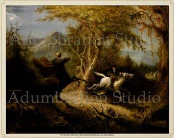 The Headless Horseman Pursuing Ichabod Crane, by John Quidor, 1858, Sleepy Hollow, 19th Century Painting, Archival Print