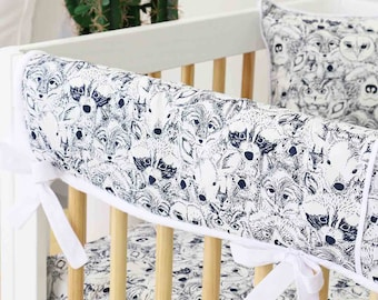 Baxter's Woodland Animal Menagerie Crib Rail Cover for Bumperless Bedding | Woodland Nursery Crib Rail Guard