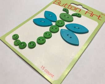 15 count green and blue Button Art mix (48)