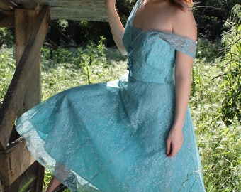 MEADOW Vintage 1940's Party Dress Teal Tulle and Lace Prom Bridesmaid Size Small
