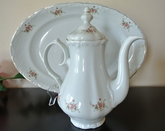 Coffee - pot - teapot - Crown Regent - porcelain China platter - made in Romania