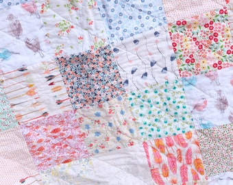 Low volume baby quilt, Modern baby quilt, Baby girl quilt, baby shower gift, shabby chic baby quilt , New baby quilt, crib bedding