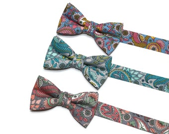 Boys Floral Paisley Bow Tie~Boys Bow Tie~Pre-tied Bow Tie~Cotton Bow Tie~Church Tie~Bow Tie~Wedding~Ring Bearer~Blush~Gray~Teal~Pink~Blue