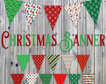 Christmas Banner - Includes 3 Sizes - Printable Christmas Decoration - Printable Bunting - Printable Garland - Instant Download
