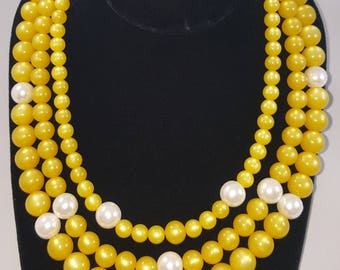 Yellow pearl 3 strand necklace set