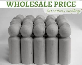 100x LARGE Wooden PEG Dolls / Bulk dolls / Wholesale pegdolls- Blank peg dolls 'Papa' size > Available for United States & Australia only