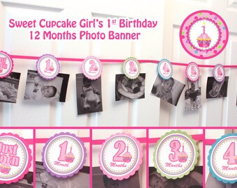 Photo banner picture banner 1st birthday banner girl 12 month photo banner 1 year birthday banner 0-12 months Sweet Cupcake Birthday banner