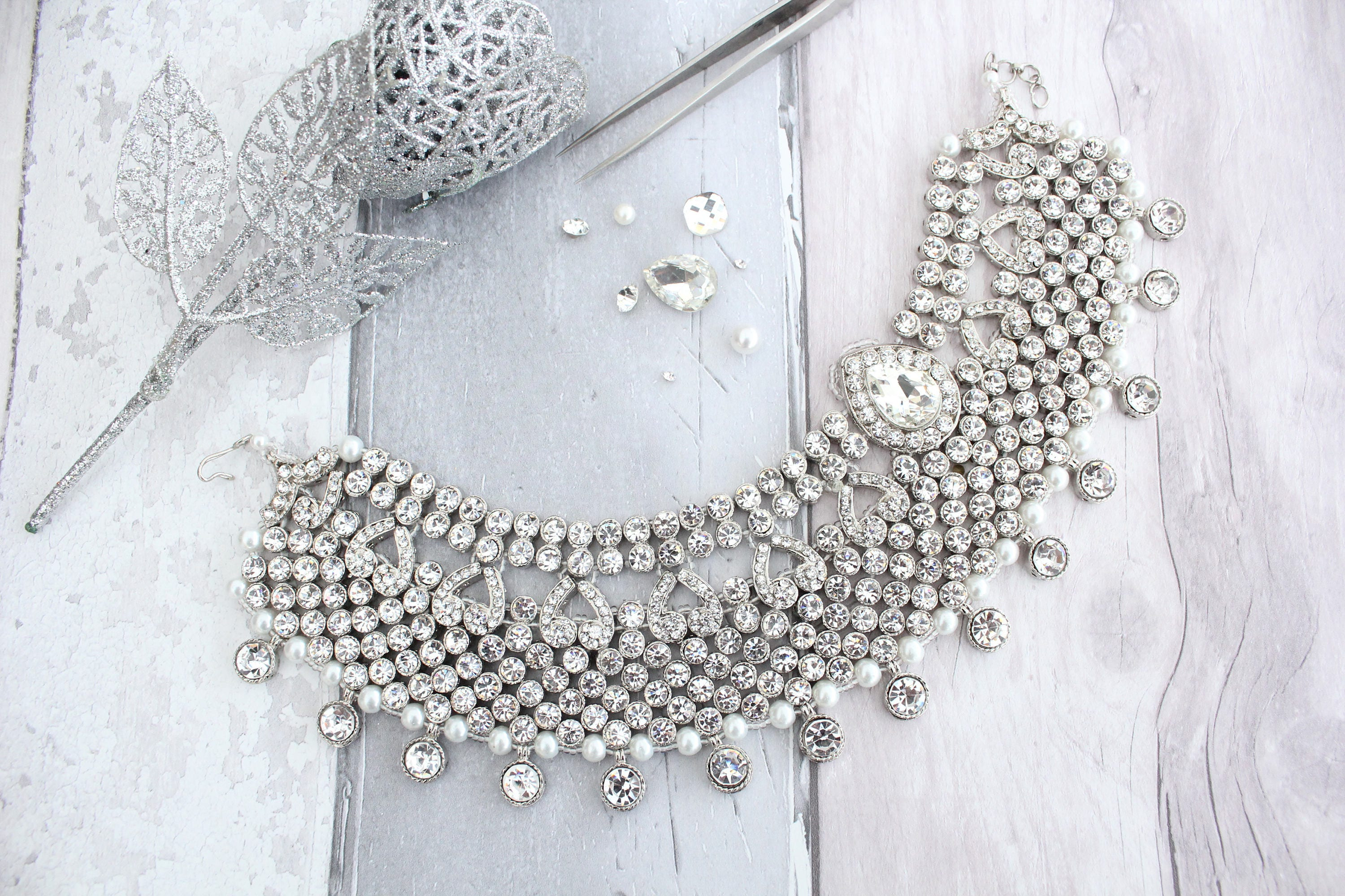 Silver Pearl Heavy Bridal Anklet Indian Payal Ankle Chain Foot
