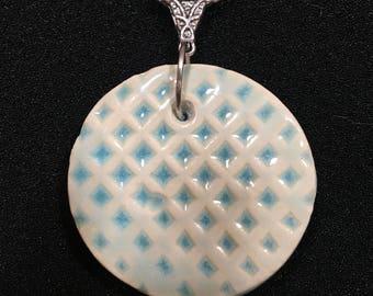 Round, Aqua Blue Pendant Necklace