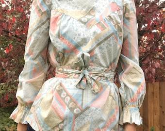 Pastel folk peplum vintage top