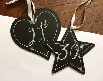 DISCONTINUED SALE - Personalised Birthday Chalkboards - Hanging Decoration - Heart - Star - 16th - 21st - 30th - 40th - Special Birthday