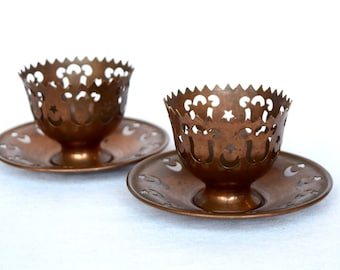 Vintage copper demitasse cup holders with saucers...openwork...candleholders.