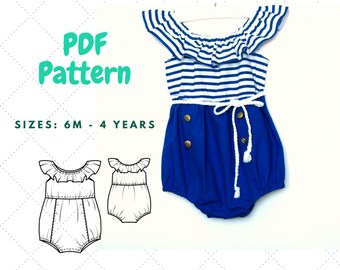 Baby Romper PDF, Bubble Romper PDF Pattern , Baby Sunsuit Pattern, Romper with ruffle PDF, Baby clothes, Pattern for baby