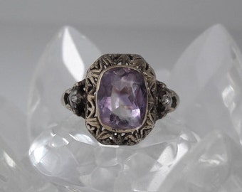 Antique victorian amethyst and rosecut diamond ring