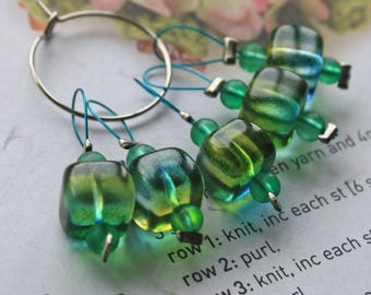 5 Knitting stitch markers spring squares limited edition