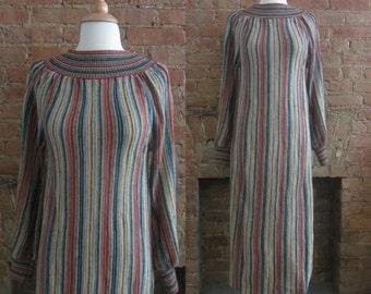 1970s rainbow striped sweater dress   70's high fashion boho