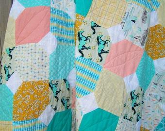 Twin quilt - baby quilt - gender neutral quilt - southwestern quilt - mint quilt - baby boy quilt - crib quilt - patchwork quilt
