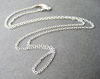 20 Inch Sterling Silver Chain Necklace, .925 Sterling Silver Flat Cable Chain, Lobster Claw Clasp