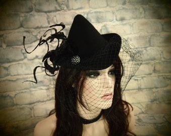 Black Wool Mini Witch Hat